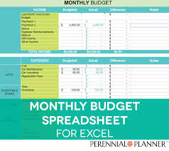 Excel Spreadsheet For Monthly Expenses Monthly Budget Spreadsheet Household Tracker Microsoft Excel