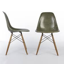 vintage olive green herman miller eames fiberglass side chair dsw