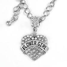 flower girl charms flower girl necklace flower girl heart flower girl charm
