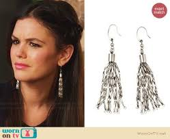 hm earrings wornontv zoe s blue and black printed cutout top on silver drop