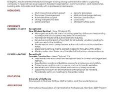 Resume Template For Receptionist Sample Receptionist Resume Skills Receptionist Resume Sample