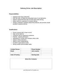 Truck Driver Job Description For Resume by Delivery Driver Job Description Template
