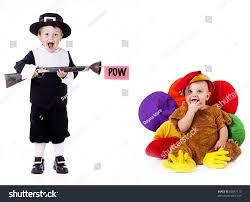 thanksgiving pilgrim child pretending shoot baby stock photo