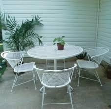 Iron Patio Table Set Outdoor Garden 5 Vintage White Wrought Iron Patio