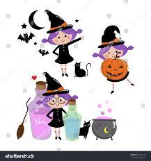 halloween witch set cute vector stock vector 704101123 shutterstock