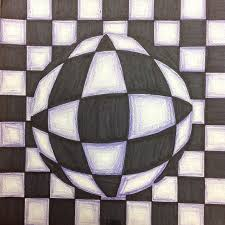 drawn optical illusion optical design pencil and in color drawn
