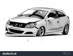 wrecked car 3d render image representing car accident stock illustration