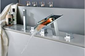 Waterfall Bath Faucets Jpf18 Led Waterfall Bathroom Faucet For Bath Tubs With Hand Shower