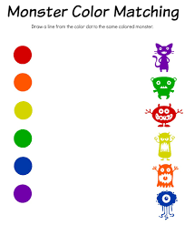monster math color match u0026 bingo free printable worksheets