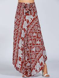 high waisted elephant print maxi african print skirt red one