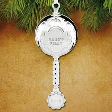 christmas ornaments baby 2016 reed barton baby s christmas rattle silverplate