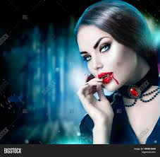 Big Mouth Halloween Makeup Beautiful Halloween Vampire Woman Portrait Beauty Vampire