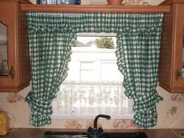 kitchen country green and white checkered kitchen curtain ideas