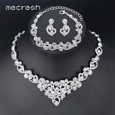 wedding jewelry necklace sets images Mecresh heart crystal wedding bridal jewelry sets silver color jpg
