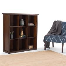 simpli home artisan medium brown auburn brown open bookcase