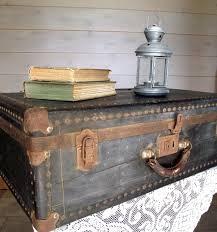 Vintage Antique Home Decor Black Suitcase Antique 1930s Hardcase Steamer Trunk Home Decor