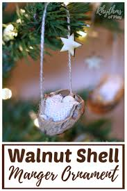 rustic walnut shell manger ornament rhythms of play