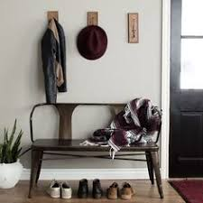 entryway benches with backs tour an industrial farmhouse style home in iceland foyers bench