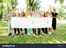 large group young people holding big stock photo 84336862