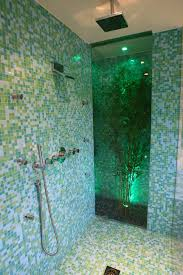 Blue Glass Tile Bathroom - popular blue and green plaid glass tile for shower wall with