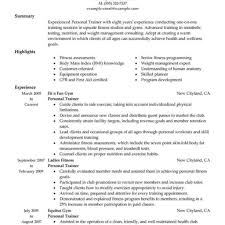 personal trainer resume best personal trainer resume exle livecareer regarding health