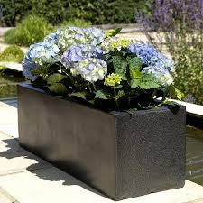 trough planters black modern garden planters in terrazzo effect