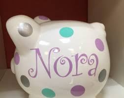 monogrammed piggy bank personalized piggy bank etsy