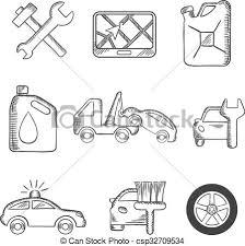 vectors of car service sketch icons set car service sketch icons