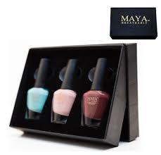 maya gift set 3 piece halal breathable nail polish with