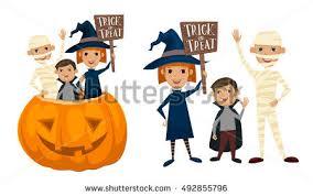 cartoon kids halloween costume holding pumpkin stock vector