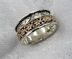 spinner rings spinner ring sterling silver gold floral spinner ring wide