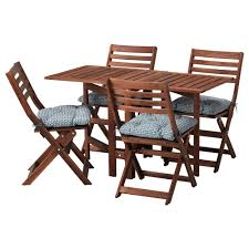 ApplarO table and 4 folding chairs outdoor Applaro brown ApplarO table and 4 folding chairs outdoor Applaro brown stained h llo black ikea