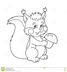 coloring page outline of cartoon squirrel with mushrooms coloring