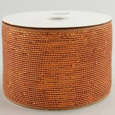 copper ribbon 4 poly deco mesh ribbon metallic brown copper rs200504