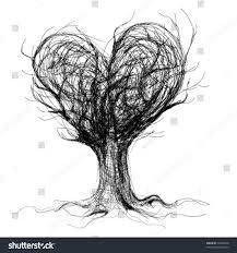 tree like heart realistic sketch not stock vector 70348678