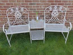 Garden Loveseat Cream 2 Seater Loveseat Metal Garden Bench 2 Chairs With Table