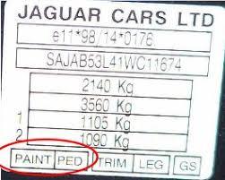 finding car paint colour codes for a jaguar