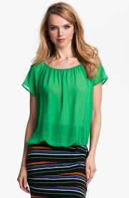 elastic waist blouse lyst vince camuto elastic waist top in green