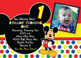 Mickey Mouse 1st Birthday Card Mickey Mouse 1st Birthday Invitations Marialonghi Com