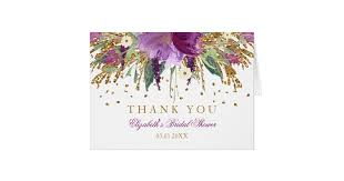 bridal shower thank you cards floral glitter amethyst bridal shower thank you card zazzle