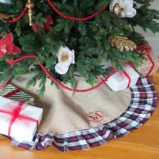 burlap tree skirt monogram plaid christmas tree skirt and set burlap