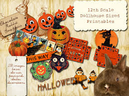 dollhouse 12th scale vintage halloween printable collage sheet