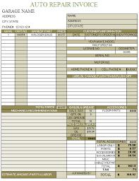 Free Auto Repair Invoice Template Excel Auto Shop Invoice Template Rabitah