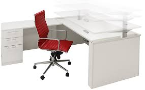 Height Of Office Desk Adjustable Height U Shaped Executive Office Desk W Hutch In White