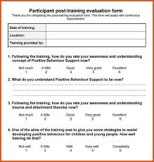 training evaluation form general resumes