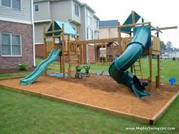 Backyard Playground Slides by Swingsets And Playsets L Mighty Swings Play Systems L
