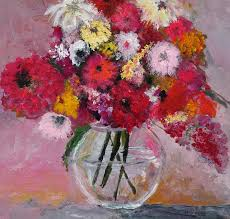 a saucy bouquet of flowers in a glass vase description from fineartamerica com