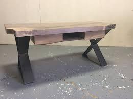 live edge walnut coffee table live edge walnut coffee table with drawers and flat steel x base