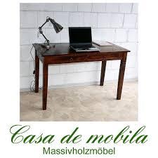 Schreibtisch Massivholz Casa Schreibtisch Braun Nussbaum Pappel Massiv Kolonial Lackiert