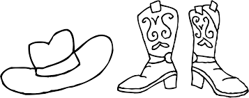 unique cowboy clipart black and white hat boots coloring page drawing